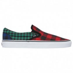 Vans Classic Slip On Tartan Pack Plaid Vans Classic Slip On - Boys' Grade School Red/Green/Plaid | What The Buffalo - Plaid