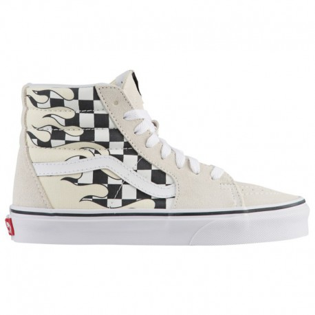 Vans Checker Flame Sk8 Hi Vans Sk8-Hi - Boys' Grade School Classic White/True White | Checker Flame