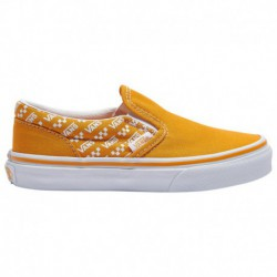 yellow vans classic slip on vans classic slip on yellow vans classic slip on boys preschool yellow white repeat logo