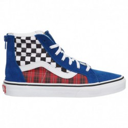 Red Velvet Sk8 Hi Vans Vans Sk8-Hi - Boys' Preschool True Blue/Racing Red | Plaid Checkerboard