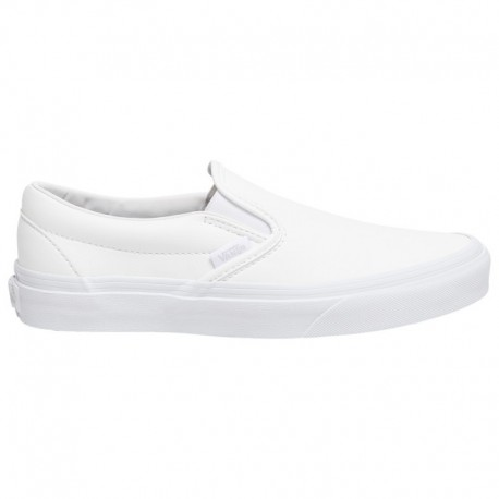 Vans Classic Slip On Lux Leather Vans Classic Slip On - Boys' Grade School White | Leather