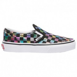 Vans Classic Slip On Girls Vans Classic Slip On - Girls' Preschool Black/true White | Iridescent Check