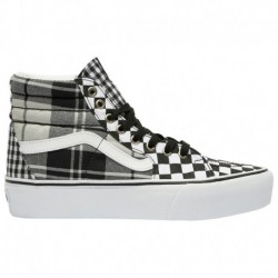 Van Sk8 Hi Platform Vans Sk8-Hi Platform 2.0 - Women's Black/True White | Plaid Checkerboard