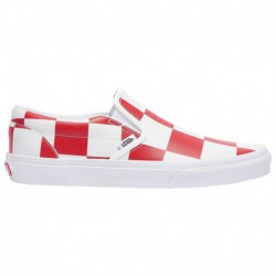 red classic online store fake white slip on vans vans classic slip on men s true white racing red leather check