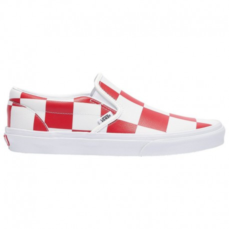 Red Classic Online Store Vans Classic Slip On - Men's True White/Racing Red | Leather Check