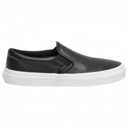 Vans Classic Slip On Leather Vans Classic Slip On - Boys' Grade School Black/white | LEATHER