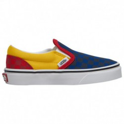 vans classic slip on navy blue vans classic slip on red yellow blue vans classic slip on boys grade school navy yellow red otw