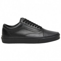 Vans Old Skool Black Black Leather Vans Old Skool - Men's Black/black | LEATHER