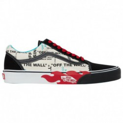 Vans Old Skool Off The Wall Flame Vans Old Skool - Men's Black/White/Red | Off The Wall Flame