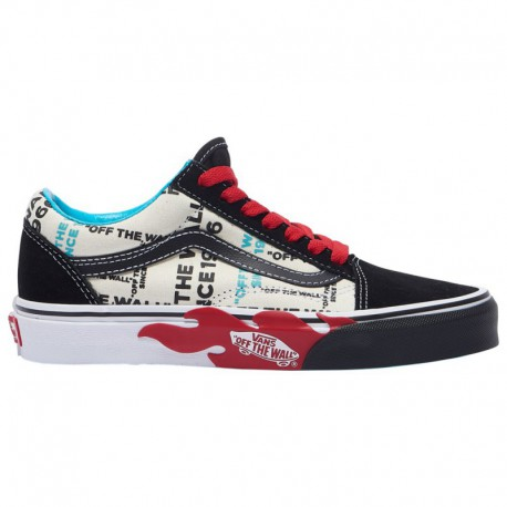 Vans Old Skool Red True White Vans Old Skool - Boys' Grade School Black/True White/Red | Otw Flame