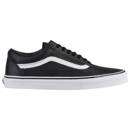 Vans Old Skool Black True White Leather Vans Old Skool - Men's Black/True White | Tumbled Leather