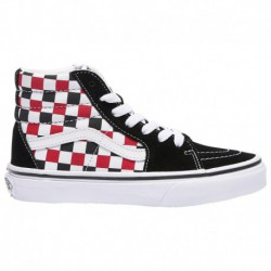 Red Checkerboard Sk8 Hi Vans Sk8-Hi - Boys' Preschool Black/Racing Red | Checkerboard